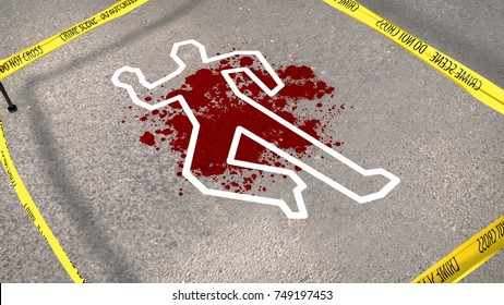 A puzzling 3d rendering of a crime scene with a bloody blur on gray asphalt. The yellow stripe makes a barrier for passersby. The chalk drawing outlines a male figure in askew perspective.