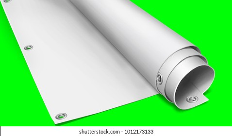 PVC advertising banner with eyelets 3D Illustration