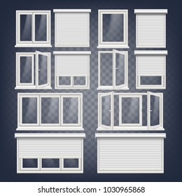 PVC Window. Rolling Shutters. Opened And Closed. Front View. Open Plastic Glass Window. Illustration
