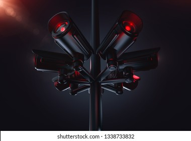 Pylon with several cctv cameras. Living in future with social credit system concept. 3D rendering