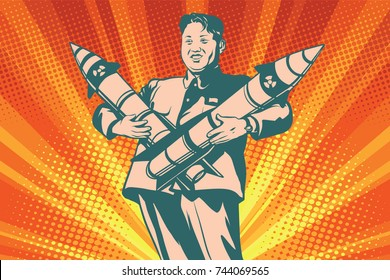 Pyongyang, North Korea - October 29, 2017. Kim Jong-UN with nuclear rocket. The Leader Of North Korea. Comic cartoon style pop art retro illustration