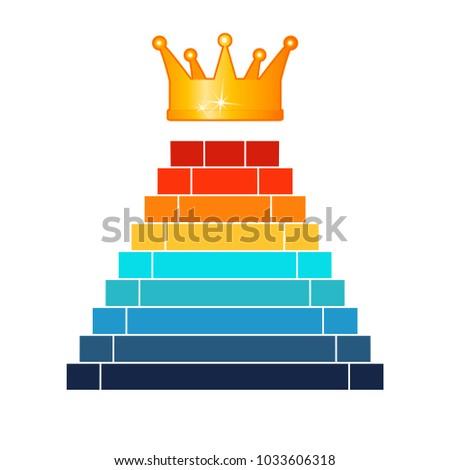 pyramid 9 steps success template infographics stock illustration