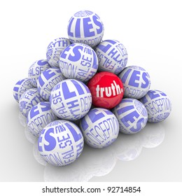 A pyramid of balls representing lies with one different ball hidden within it marked Truth.  Hard to find honest facts among lies, deceit, deception, fibs, misleading stories and fiction.