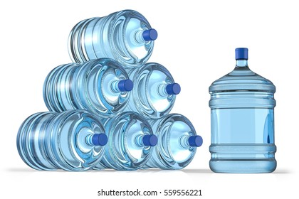 Pyramid of  big plastic barrel, bottle for office water cooler. 3D render, isolated on white background.