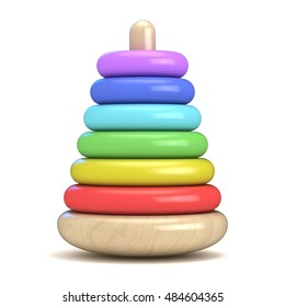 Pyramid build from colored wooden rings. Colorful wooden toy. 3D render illustration isolated on white background