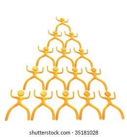 Pyramid business scheme 3d humanoid icon