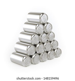 Pyramid of cans (Tin-Plate Material) Picture For Advertising (Isolated On White)