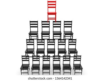 Pyramid of chairs in black and red colors.3d illustration