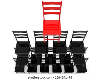 Pyramid of chairs top view.3d illustration