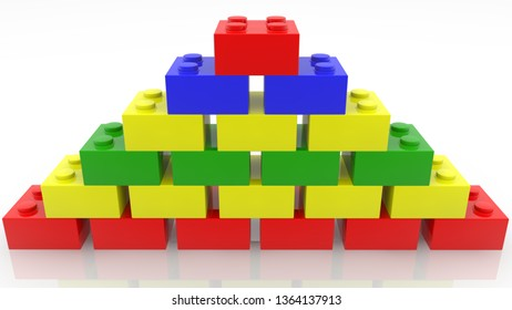 Pyramid of colorful toy bricks on white.3d illustration