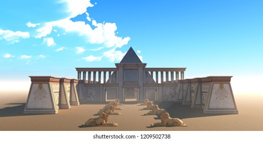 Pyramid Egyptian Temple 3D illustration - An Egyptian temple and pyramid building complex in the deserts of Egypt along the Nile river.