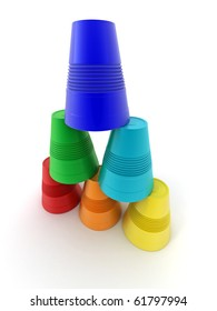 Pyramid from inverted  plastic cups on isolated background. 3d
