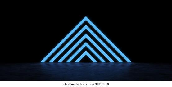 Pyramid of luminous blue stripes. 3D Render
