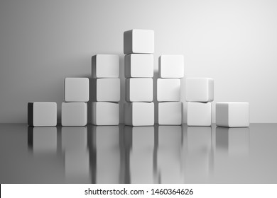 Pyramid made of white plain cubes standing on white reflective mirror surface. 3d illustration.