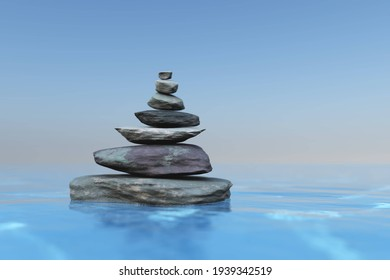 Pyramid on a stone on the water, Zen stones in water, still life from stones and water, 3D rendering
