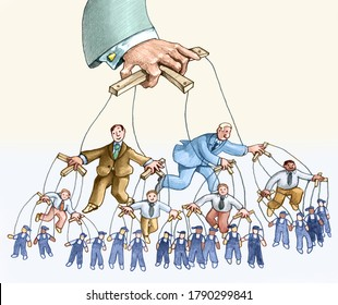 a pyramid of puppets that starts from the workers and climbs to the managers up to a mysterious hand everything is controlled by an unknown person