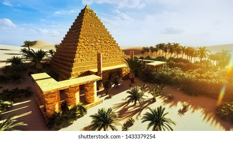 Pyramid at Sahara oasis 3d rendering