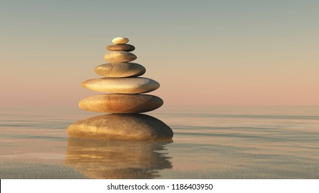 A pyramid of stones above the water. Massage parlor. Spa business. 3D rendering
