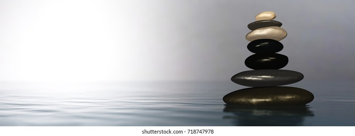 pyramid of stones over the water, 3D rendering