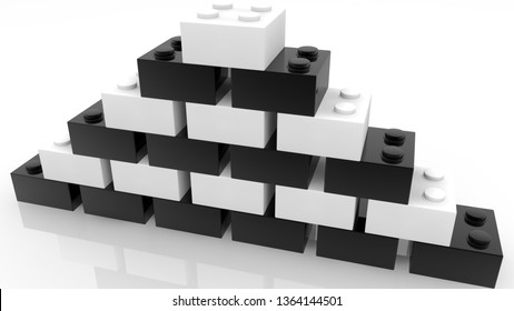 Pyramid of toy bricks in white and black colors on white.3d illustration