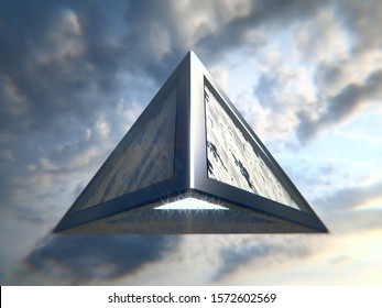 Pyramidal UFO flying in the sky. 3d illustration