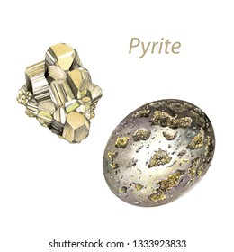 Pyrite watercolor gems. Solar plexus chakra stones and healing crystals. Hand drawn illustration of gemstones isolated on white background