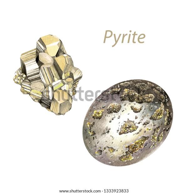 Pyrite Watercolor Gems Solar Plexus Chakra Stock