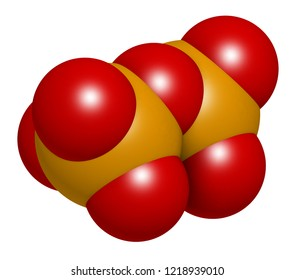 Pyrophosphate (PPi) anion. Important in biochemistry, used as food additive (E450). 3D rendering. Atoms are represented as spheres with conventional color coding: phosphorus (orange), oxygen (red).
