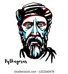 Pythagoras engraved  portrait with ink contours. Ionian Greek philosopher and the eponymous founder of the Pythagoreanism movement.