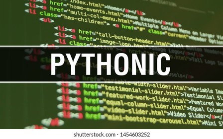 Pythonic concept illustration using code for developing programs and app. Pythonic website code with colourful tags in browser view on dark background. Pythonic on binary computer code, background