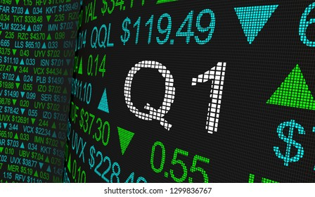 Q1 1st First Quarter Period Stock Market Ticker Words 3d Illustration