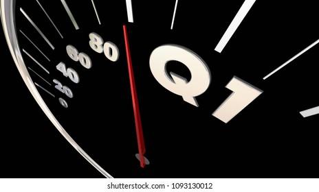Q1 First Quarter Budget Speedometer 3d Render Illustration