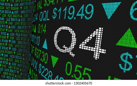 Q4 4th Quarter Period Stock Market Ticker Words 3d Illustration