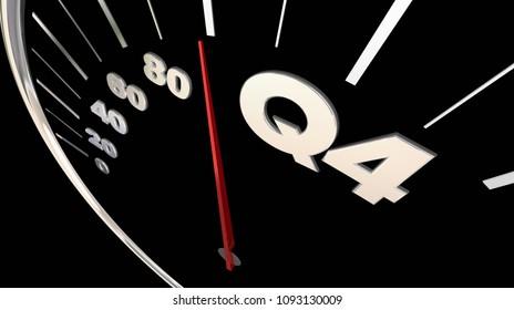 Q4 Fourth Quarter Budget Speedometer 3d Render Illustration