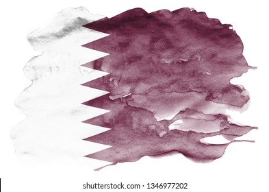 Qatar flag  is depicted in liquid watercolor style isolated on white background