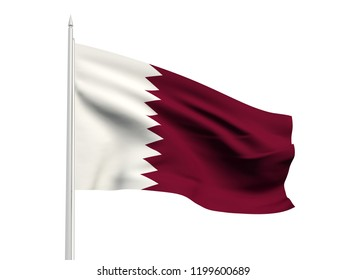 Qatar flag floating in the wind with a White sky background. 3D illustration.