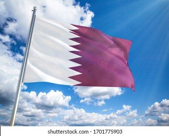 Qatar  flag in front of blue sky. 3D illustration