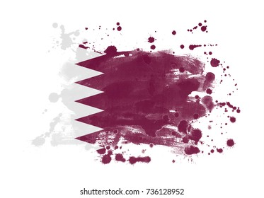Qatar flag grunge painted background