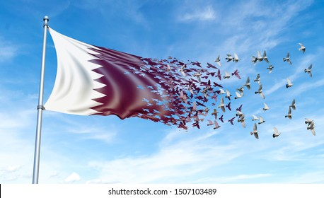 Qatar flag on a pole turn to birds while waving against a blue sky background - 3D illustration.