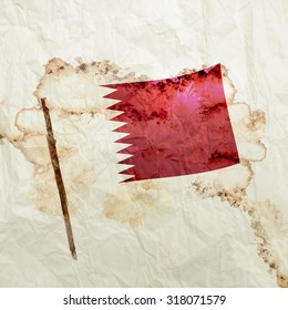 Qatar Flag on Watercolor Grunge paper background