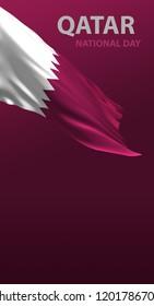 Qatar Flag, Qatari Colors (3D Render)