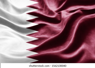 Qatar flag of silk -3D illustration