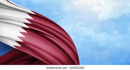 Qatar flag of silk with copyspace for your text or images and sky background-3D illustration