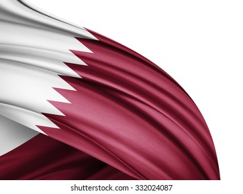 Qatar  flag of silk with copyspace for your text or images and white background