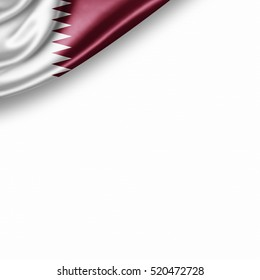 Qatar flag of silk with copyspace for your text or images and white background -3D illustration