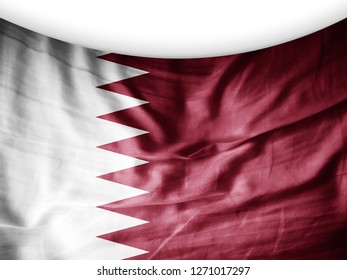 Qatar  flag of silk and white background-3D illutration