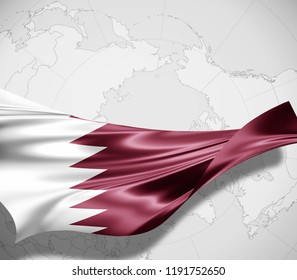 Qatar flag of silk and world map background -3D illustration