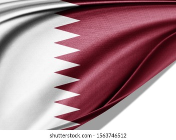 Qatar flag of silk-3D illustration