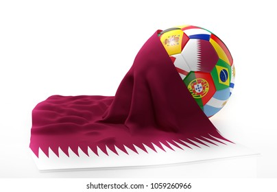 Qatar flag soccer ball 3d rendering flags