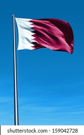 Qatar flag waving on the wind